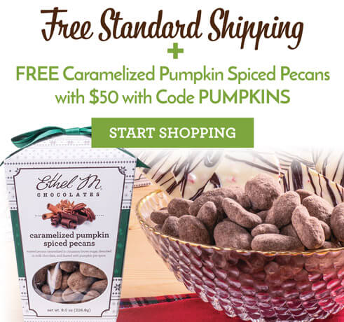 Use code PUMPKINS for a free caramelized pumpkin spiced pecans when you purchase $50 or more