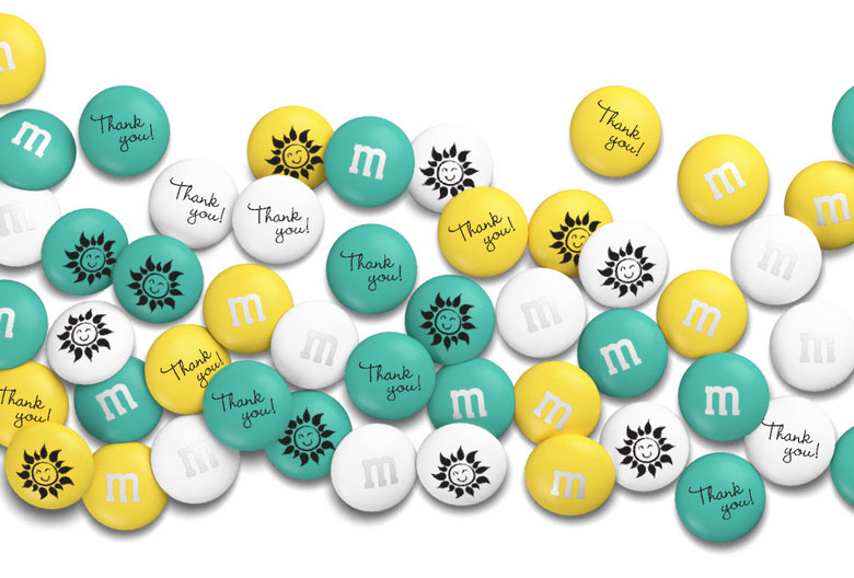 Illustration of personalized M&M's on a white background