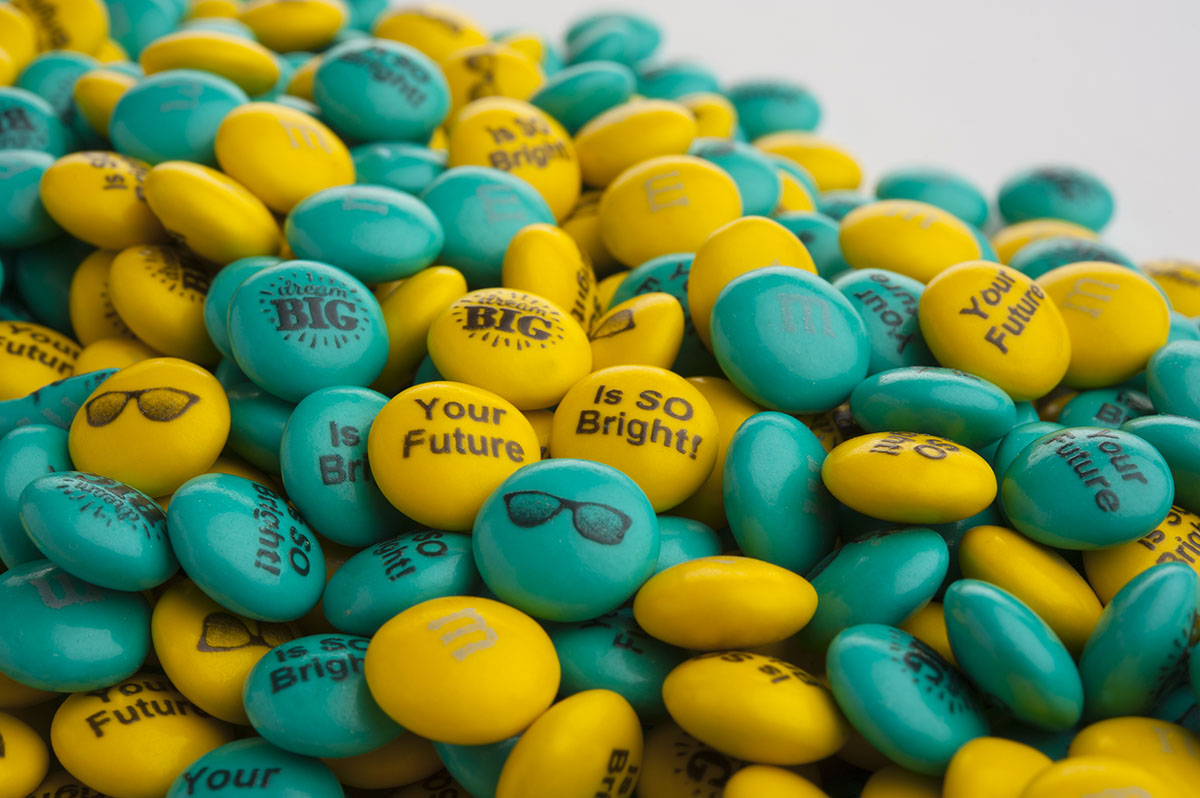 Personalized M&M'S on a clear background