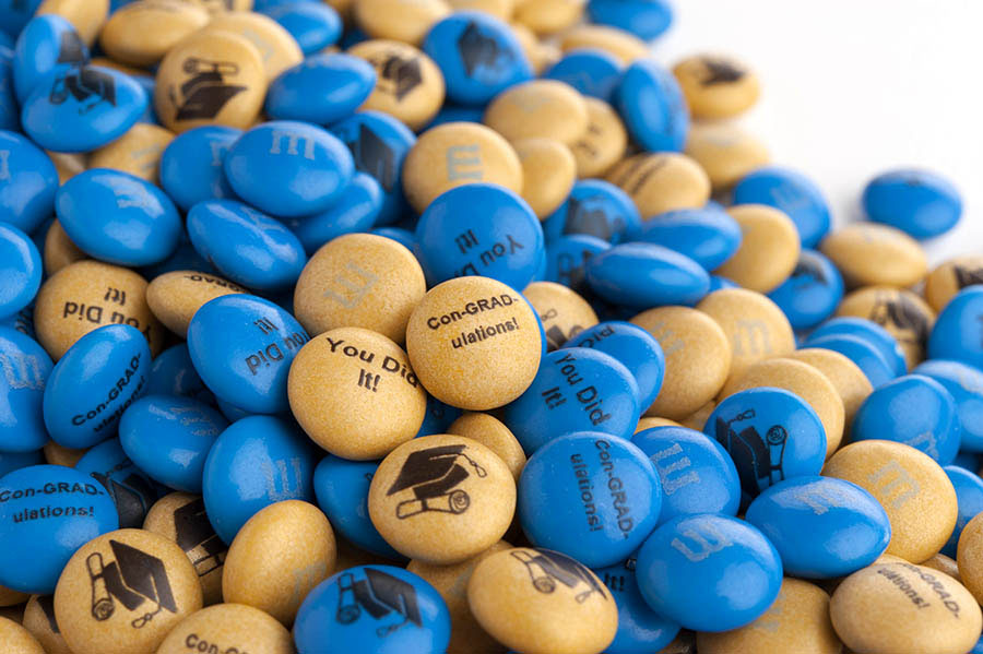 Personalized graduation gift M&M'S on a clear background