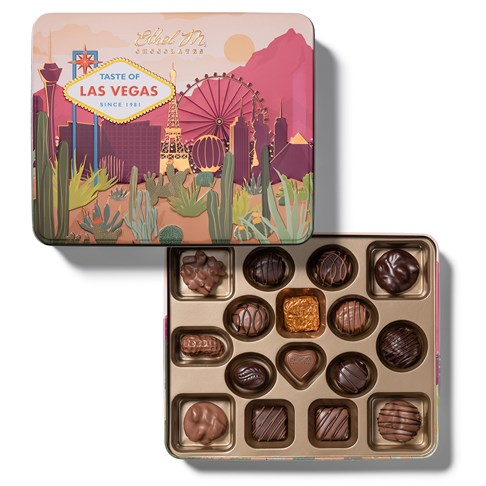 taste of las vegas open tin with chocolate