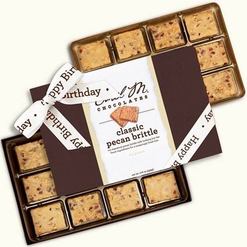 Ethel_M_Chocolates_24_Piece_Double_Layer_Classic_Brittle_Collection_With_White_Happy_Birthday_Ribbon_Open_Box_Overhead_View