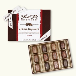 Ethel_M_Chocolates_12_Piece_Liqueur_Collection_With_White_Happy_Anniversary_Ribbon_Open_Box_Overhead_View