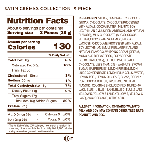 satin cremes 12piece nutrition facts and ingredients