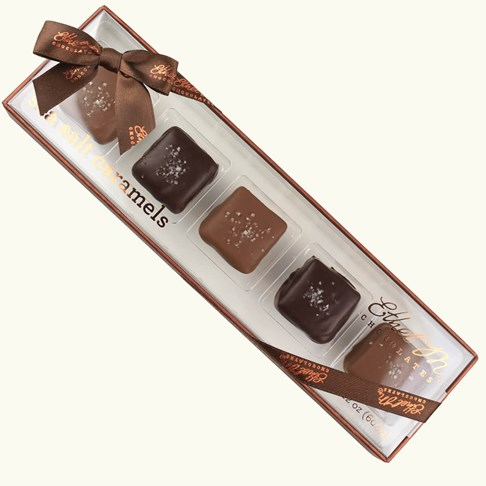 Ethel_M_Chocolates_5_Piece_Dark_And_Milk_Chocolate_Covered_Caramel_Chews_With_Sea_Salt_Overhead_View