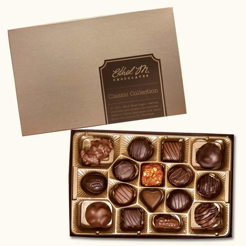 Ethel_M_Chocolates_16_Piece_Single_Layer_Genuine_Chocolate_Collection_Open_Box_Overhead_View