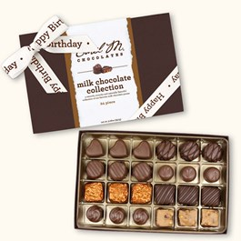 Ethel_M_Chocolates_24_Piece_Milk_Chocolate_Collection_With_White_Happy_Birthday_Ribbon_Open_Box_Overhead_View