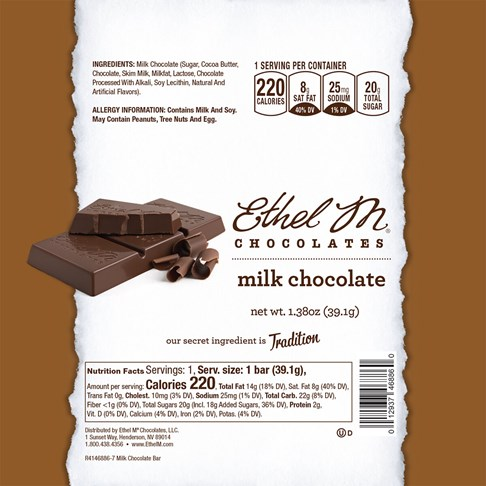 milk chocolate ethel m bar wrap with nutrition facts and ingredients