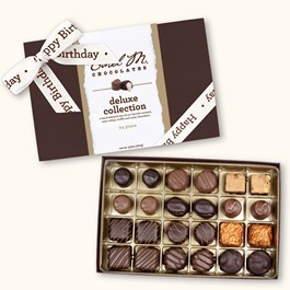 Ethel_M_Chocolates_24_Piece_Single_Layer_Deluxe_Assorted_Chocolate_Collection_With_White_Happy_Birthday_Ribbon_Open_Box_Overhead_View