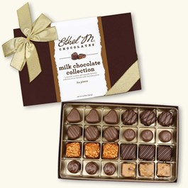 24pc milk chocolate collection with gold ribbon