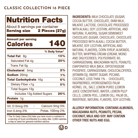 Nutrition Facts, Allergy and Ingredients Label on Classic Collection 16 Piece.