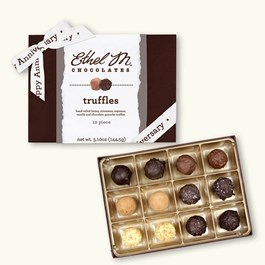 Ethel_M_Chocolates_12_Piece_Single_Layer_Truffle_Collection_With_White_Happy_Anniversary_Ribbon_Open_Box_Overhead_View