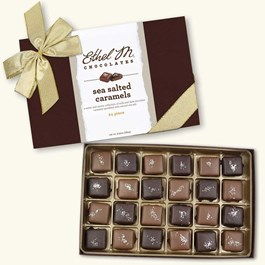 Ethel_M_Chocolates_Single_Layer_Milk_And_Dark_Chocolate_Sea_Salt_Caramel_Collection_With_Gold_Holiday_Ribbon_Open_Box_Overhead_View