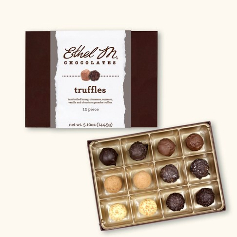 Ethel_M_Chocolates_12_Piece_Single_Layer_Various_Chocolate_Truffles_Open_Box_Overhead_View