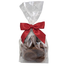 bag of ethel m milk chocolate coins with red holiday bow