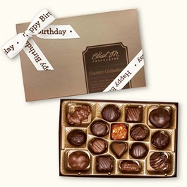Ethel_M_Chocolates_16_Piece_Single_Layer_Classic_Collection_With_White_Happy_Birthday_Ribbon_Open_Box_Overhead_View