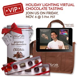 vip virtual holiday package with limited edition 5-piece and hot chocolate tin
