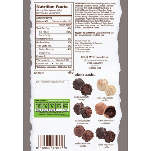 truffle collection ingredients and nutritional info