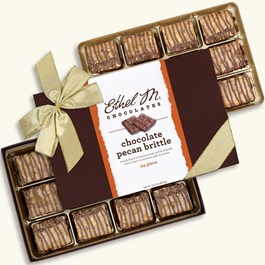 Ethel_M_Chocolates_24_Piece_Double_Layer_Chocolate_Pecan_Brittle_Collection_With_Gold_Holiday_Ribbon_Open_Box_Overhead_View