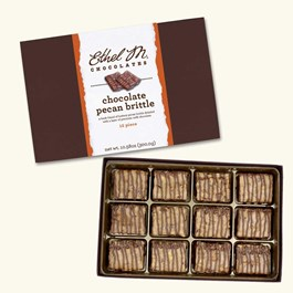 Ethel_M_Chocolates_12_Piece_Single_Layer_Chocolate_Pecan_Brittle_Collection_Open_Box_Overhead_View