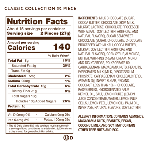 Nutrition Facts, Allergy and Ingredients Label on Classic Collection 12 Piece.