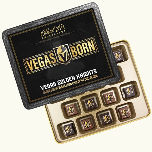 Ethel_M_Chocolates_16_Piece_Single_Layer_Vegas_Golden_Knights_Collectible_Tin_Open_Box_Overhead_View