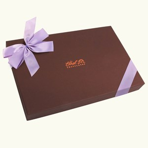 Ethel_M_Chocolates_Single_Layer_Design_Your_Own_Assorted_Chocolate_Box_With_Orchid_Bow_Front_View