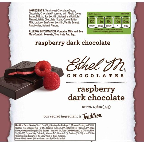 Premium Dark Chocolate Raspberry Bar Nutrition