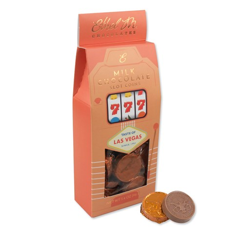 Perfect to give away for any occasion. Grab our foiled Creamy Milk chocolate coins packaged in our Las Vegas slot box.