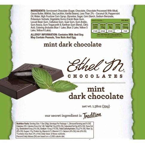 Premium Dark Chocolate Mint Bar Nutrition