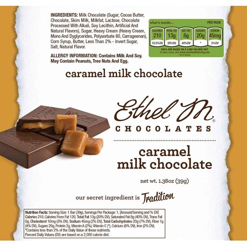 Premium Milk Chocolate Caramel Bar Nutrition