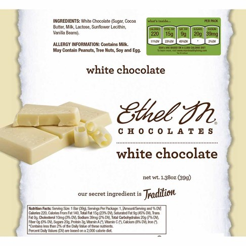 Premium White Chocolate Bar Nutrition