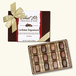 Ethel_M_Chocolates_12_Piece_Single_Layer_Liqueur_Collection_With_Gold_Ribbon_Open_Box_Overhead_View