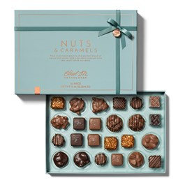 open 24 piece nut and caramel collection with lid
