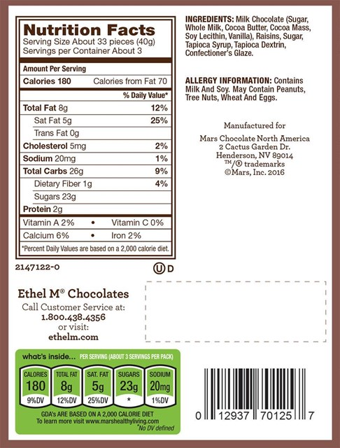Milk Chocolate Covered Raisins Nutrition
