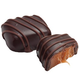 dark chocolate chewy caramel piece