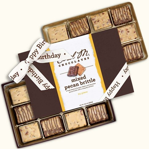 Ethel_M_Chocolates_24_Piece_Double_Layer_Mixed_Brittle_Collection_With_White_Happy_Birthday_Ribbon_Open_Box_Overhead_View