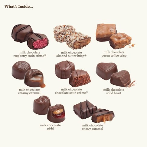 24pc milk chocolate collection whats inside piece map