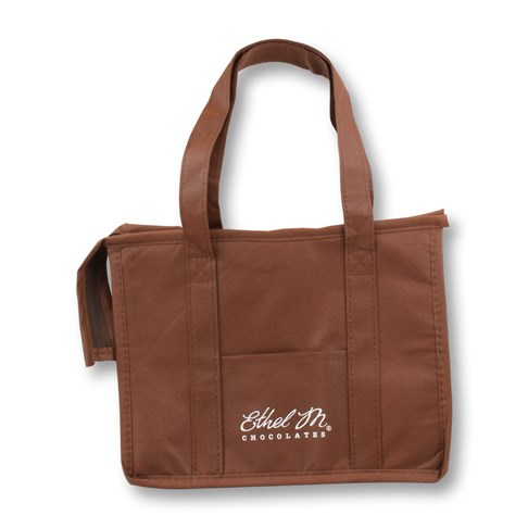 brown logoed ethel m small insulated tote bag