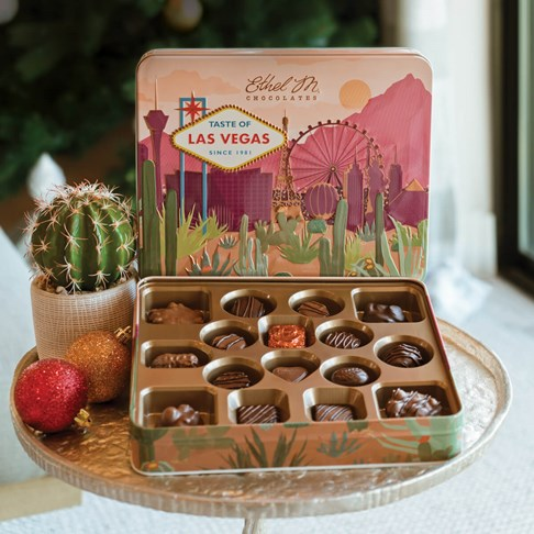 Ethel_M_Chocolates_Taste_of_Las_Vegas_16_Piece_Single_Layer_Assorted_Chocolates_Open_Box_Front_View_With_Cactus