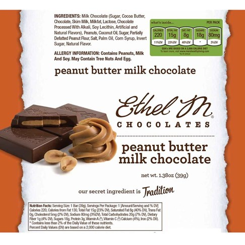 Premium Milk Chocolate Peanut Butter Bar Nutrition