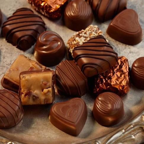 Ethel_M_Chocolates_Assorted_Chocolates_Small_Pile_On_Glass_Platter