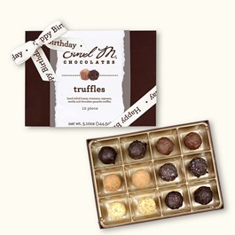 Ethel_M_Chocolates_12_Piece_Single_Layer_Truffle_Collection_With_White_Happy_Birthday_Ribbon_Open_Box_Overhead_View