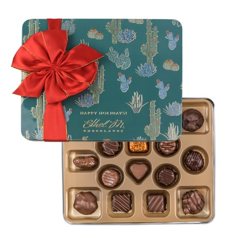 Ethel_M_Chocolates_16_Piece_Single_Layer_Classic_Collection_Holiday_Tin_With_Red_Ribbon_Open_Box_Overhead_View