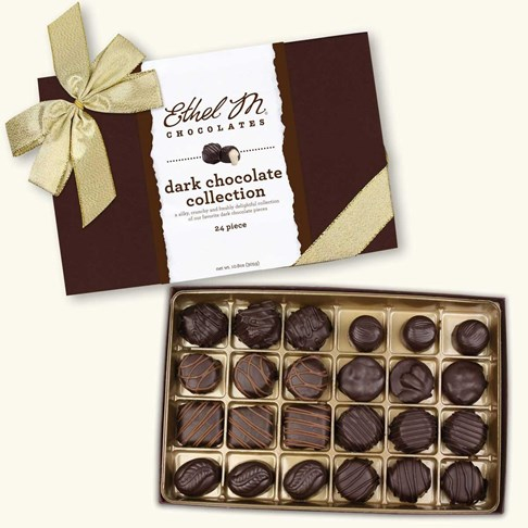 24pc dark chocolate collection with gold ribbon