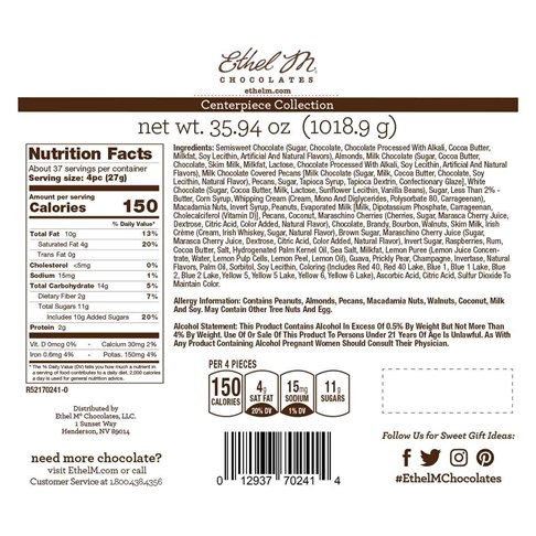 Nutrition Facts, Allergy and Ingredients on Ethel M Chocolates Biggest Box Ever, The Centerpiece Collection.