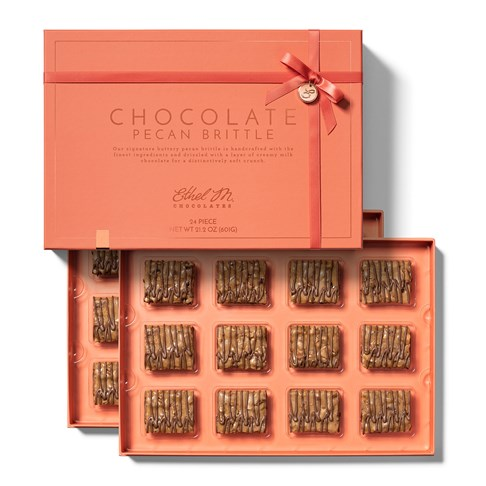 A 24 Pc Gift box filled with a Mix of Ethel M Chocolates Freshly made Copper-kettle Classic Pecan and Chocolate Pecan Brittles.