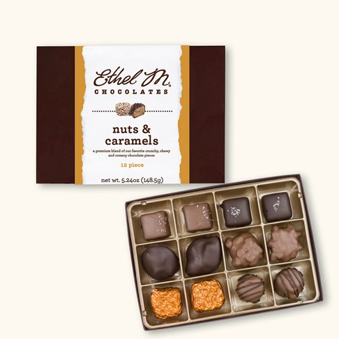 Ethel_M_Chocolates_12_Piece_Single_Layer_Nuts_And_Caramel_Assortment_Open_Box_Overhead_View