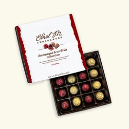 Ethel_M_Chocolates_16_Piece_Single_Layer_Champagne_Cherry_Cordial_And_Chocolate_Truffle_Open_Box_Overhead_View