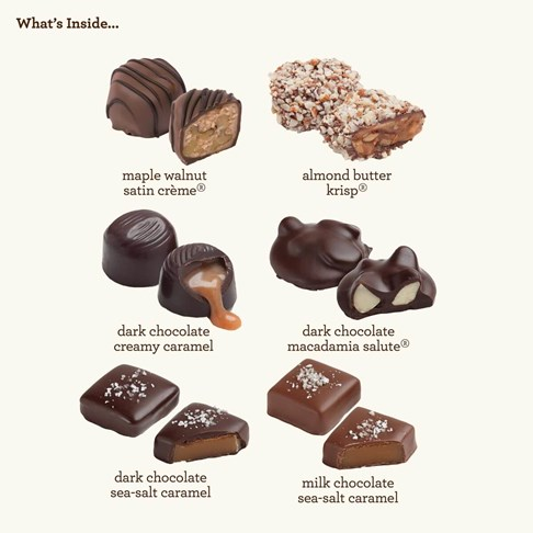 24pc nut caramel collection whats inside piece map